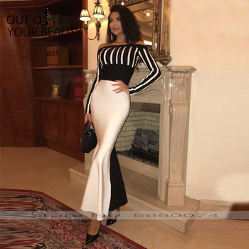 2020 New Mermain Evening Dress Sexy Black Boat-neck striped hip Contrast-Color Slim With Long Sleeves Temperament Dress long sleeves boat neck bodycon womens dress