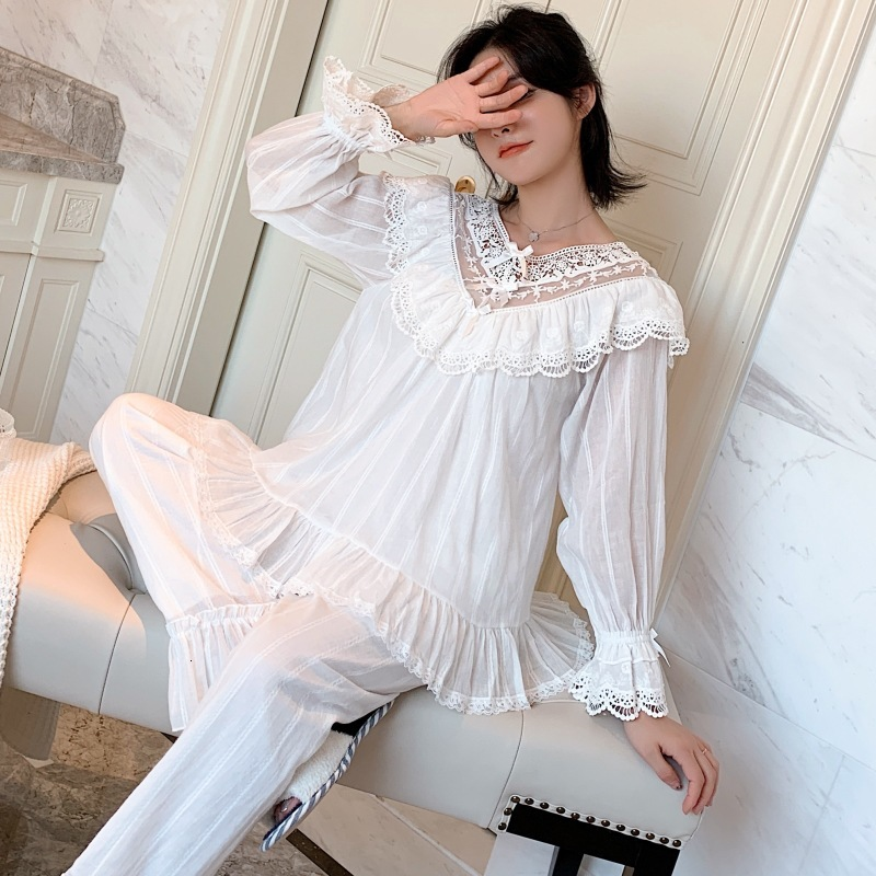 Autumn Embroidery Lace Princess Retro Woven Cotton Pajamas Suit Long Sleeve Trousers Set Outwear Sleepwear