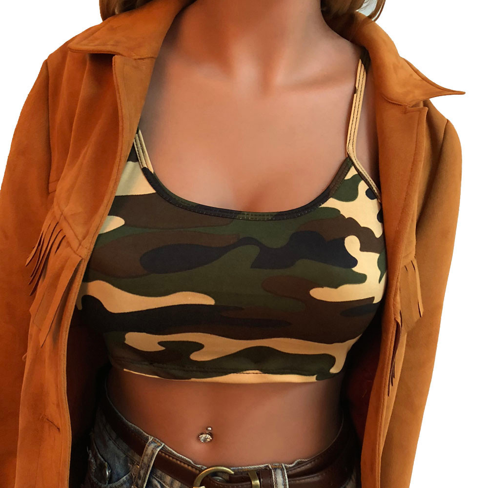 Camouflage Crop Top Women Clothes Fashion Sexy Spaghetti Strap Top Women Sleeveless Printed Casual Summer Tops Haut Femme