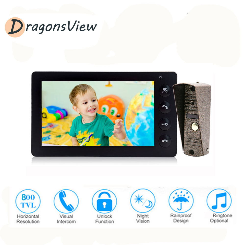 Dragonsview Video Door Phone Doorbell Intercom System Wired 800TVL 7'' Monitor Support Talking Unlock For Home Office Security