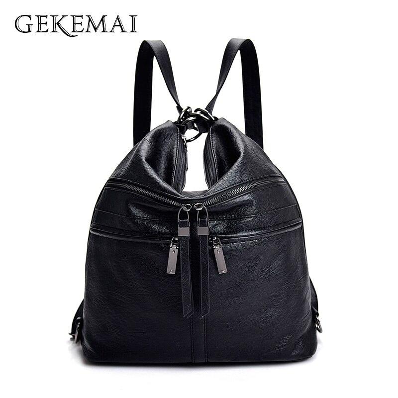 Designer Women Backpack Multifunction Leather School Bag For Teenage Girls Bookbag Anti-theft Travel Rucksacks Mochilas Female