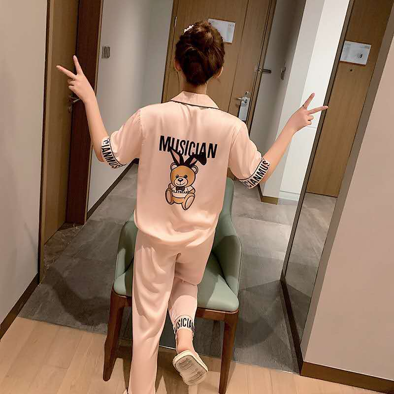 Summer Cartoon Kawaii Pajamas Satin Night Suits For Women Pijamas sleep tops Sleepwear Night Wear Women set pijama polar Mujer|Pajama Sets| - AliExpress