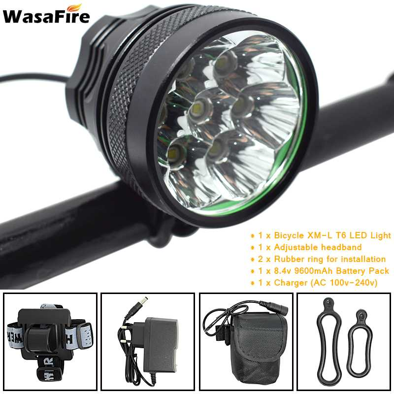 10000lm 7* XML T6 LED Bicycle Front Light Bike Headlight Cycling Headlamp + 18650 Rechargeable Battery Pack + Charger + Headband