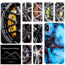 luxury Soft Silicone Phone Case Sports car Wheels rims vehicles for