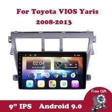 цена на Android 9.0 IPS Car Radio For Toyota VIOS Yaris 2007-2012 2 DIN Car Stereo Radio DVD Player Multimedia Navigation CD Wifi DVB