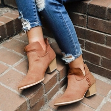 SHUJIN Brown Black Women Boots Comfy Square High Heel Ankle Boots Fashion Pointed Toe Zipper Boots Winter Ladies Shoes genuine leather square high heel buckle woman ankle boots fashion pointed toe zipper ladies boots black apricot