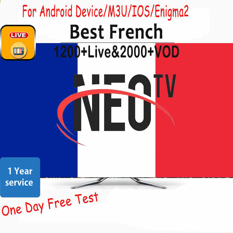 1 an NEOTV PRO IPTV France 1200 + Live 2000 + VOD NEO TV PRO Code IPTV Susbcription M3U pour Android Box Smart TV