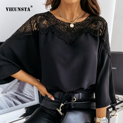 Casual Women Batwing Sleeve Solid Blouse Elegant Spring Lace Crochet Hollow Out Shirts Office Ladies O Neck Pullover Tops Blusas