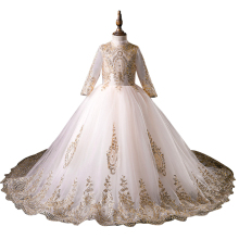 Wedding-Dress Flower-Girl Long-Sleeve Party First-Prom Formal High-End Embroidery Vestido