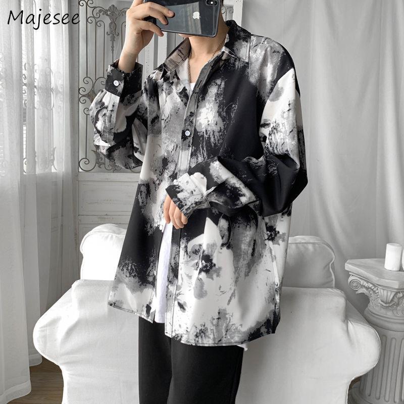 Men Shirts Tie Dye Long Sleeve Plus Size 3XL Loose Korean Retro Chic Oversize Leisure Male Outwear Harajuku Teens Ins Ulzzang BF