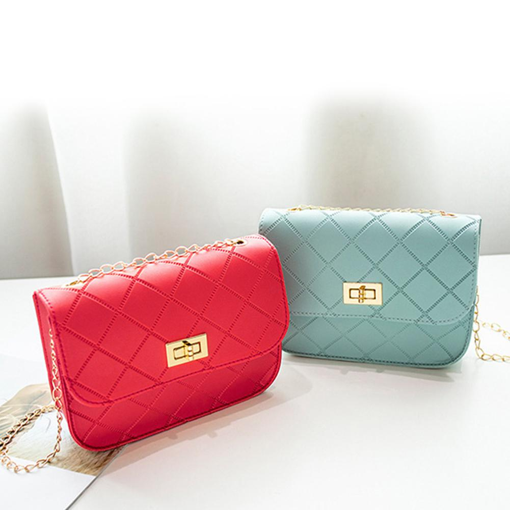 Woman Shoulder Bag Fashion Embossing Rhomboid Pattern Handbag PU Leather Phone Coin Bag Casual Portable Crossbody Bag 2019