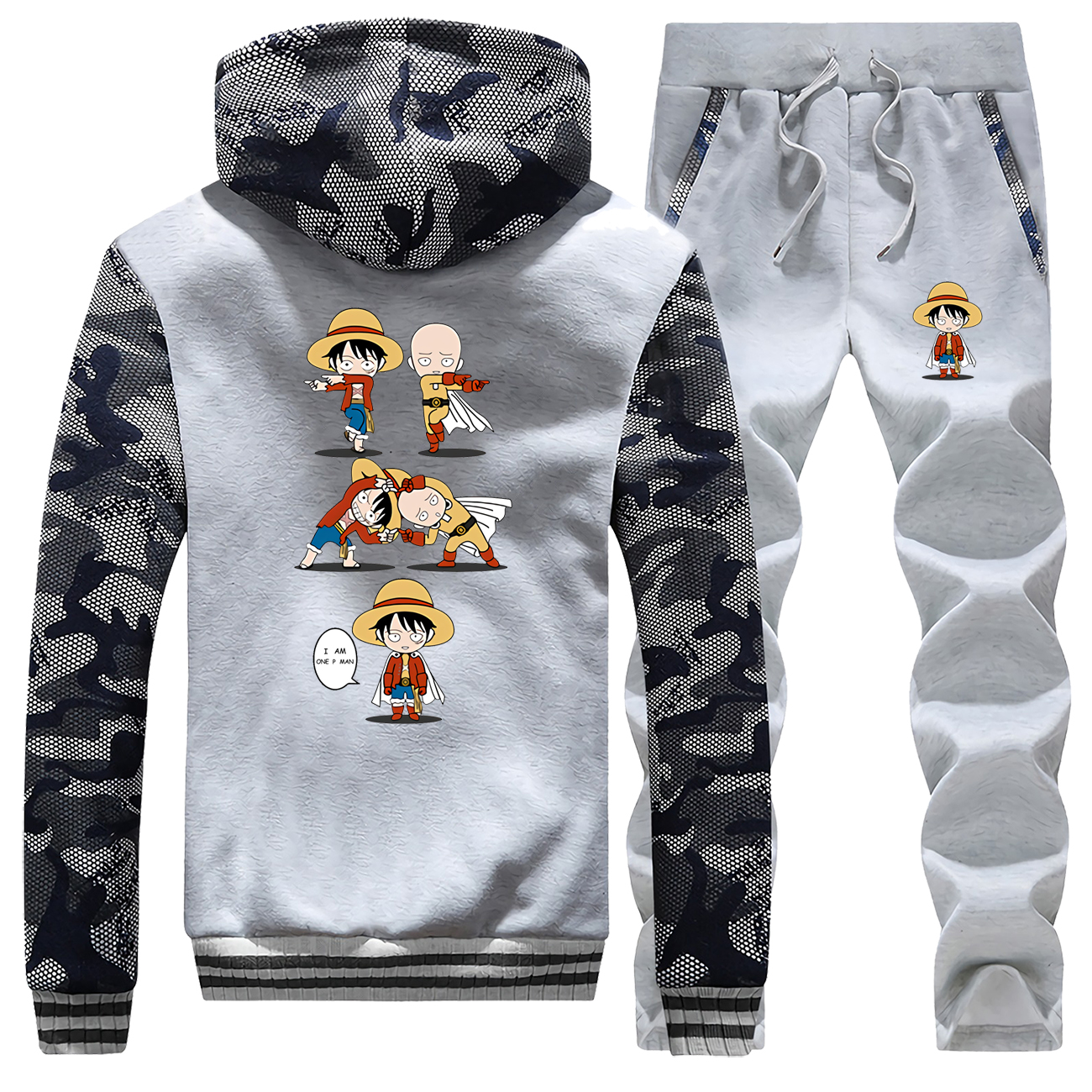 One Punch Man Saitama Tracksuits Jacket Pant Set Men One Piece Luffy Sportsuits Hoodie Sweatpant Sets Suit 2 PCS Coat Sportswear