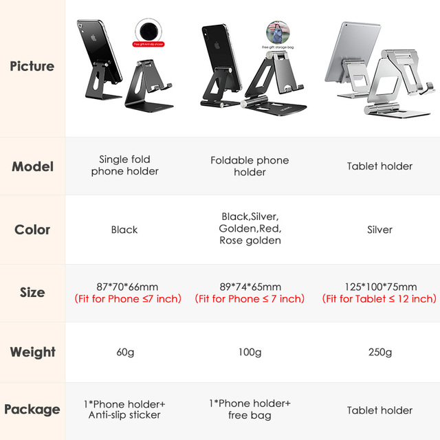 LINGCHEN Phone Holder Stand for iPhone 11 Xiaomi mi 9 Metal Phone Holder Foldable Mobile Phone Stand Desk For iPhone 7 8 X XS 2