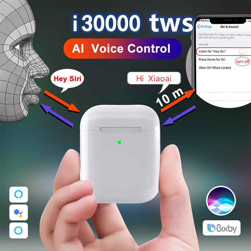 i30000 <font><b>TWS</b></font> Hey Siri 2nd AI Voice Control Bluetooth Earphone in-ear <font><b>Smart</b></font> <font><b>Sensor</b></font> 1536U chip pk W1 H1 i5000 i20000 i90000 Pro <font><b>tws</b></font> image