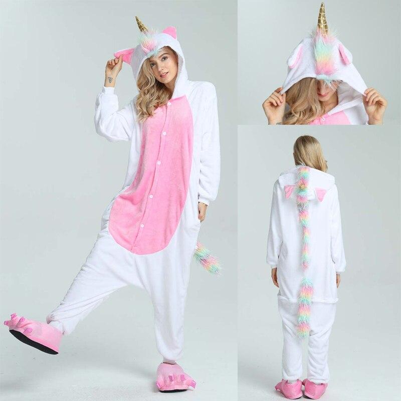 Adults Pajamas Kigurumi Animal Pajamas Sets Unicorn Cartoon Men Women Flannel Kigurumi Adult Pajama Anim