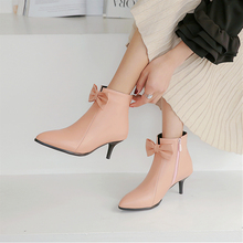 Plus Size 34-48 New Sexy High-heeled Shoes Thin High Heels Ankle Boots Fashion Bowtie Women Shoe Pointed Toe Pumps Martin Boots цена в Москве и Питере