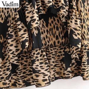 Image 4 - Vadim donne stella della stampa del leopardo del vestito modello animale manica lunga telai di moda femminile casuale di lunghezza del ginocchio abiti abiti QD091