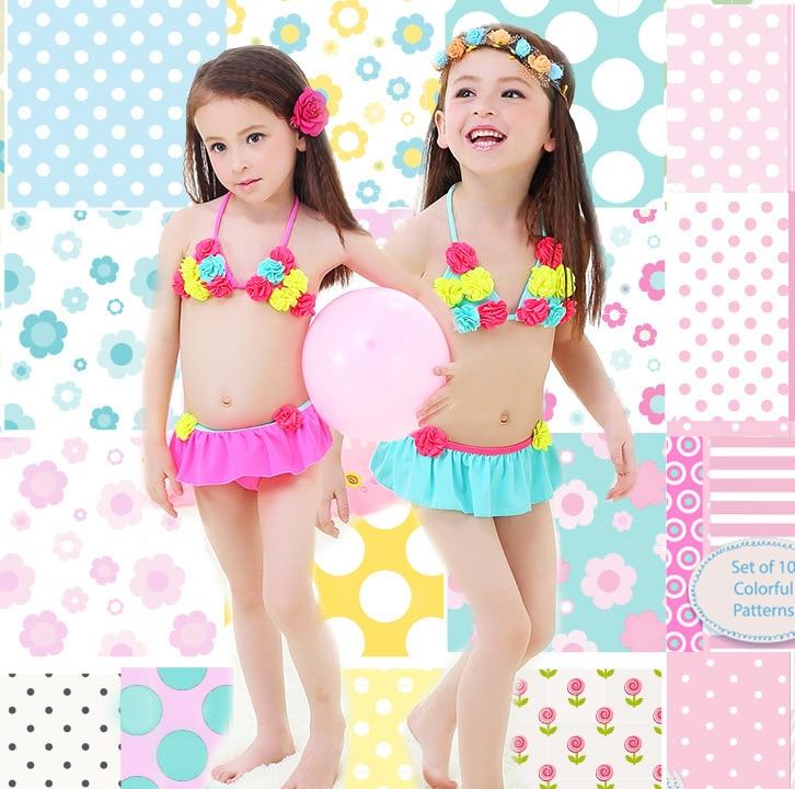 Korean-style KID'S Swimwear Children Students Multi-color Pompon Flower Cute GIRL'S Hot Springs Bikini Swimwear Combination