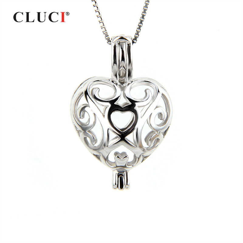 CLUCI Romantic 925 Sterling Silver Charms Pendant Jewelry Women Silver 925 Love Heart Shaped Pearl Locket Cage