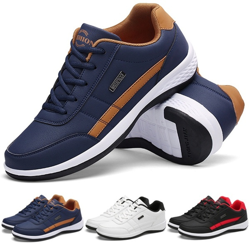 Men Business Casual Shoes PU Leather Running Shoes Fashion Lace Up Casual Sneakers Male Outdoor Walking Jogging Sports Shoes