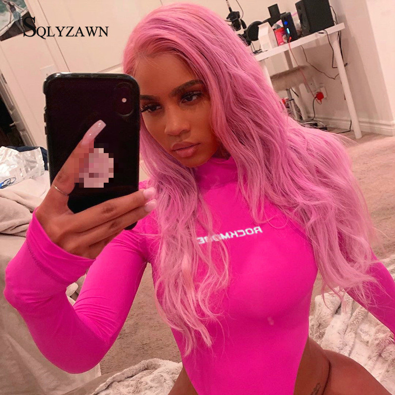 Turtleneck Letter Print Pink Long Sleeve Bodycon Bodysuit Female Sexy Streetwear Fall Skinny Romper Sweet Harajuku Club Overall