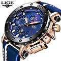 2019 lige nova moda azul dos homens relógios marca superior vestido de luxo relógio de quartzo masculino relógio casual à prova dlogiágua relogio masculino