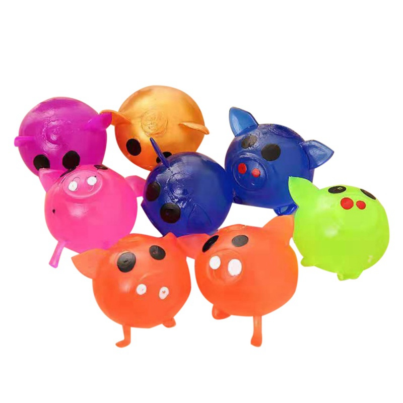 Anti-Stress Toys Cartoon Cute Pig Shape Decompression Squeeze Toy Sticky Venting Water Balls Random Colors