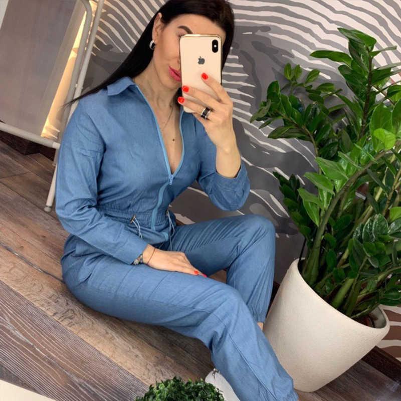 Denim Blau Strampler Frauen Casual Zipper Up Overall Lange Hosen 2019 Lose Brief Druck Overall Plus Größe Frauen Arbeits Outfits