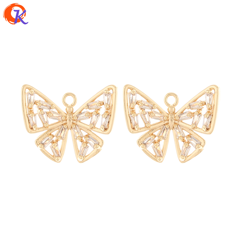 Cordial Design 20Pcs 15*18MM Jewelry Accessories/Earring Findings/Butterfly/Genuine Gold Plating/Hand Made/CZ Charms/DIY Making