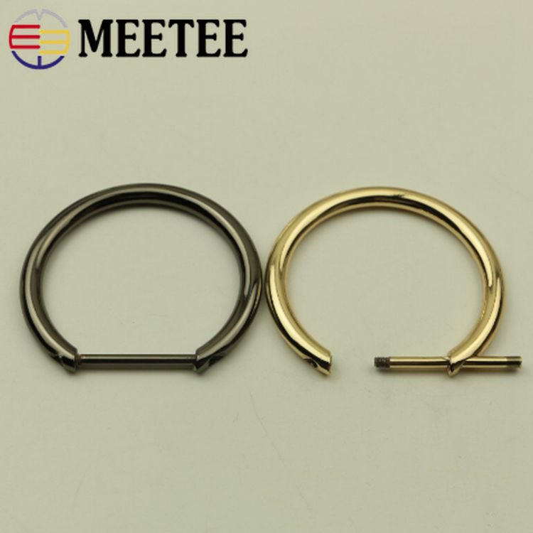 2pcs Light Gold U Shape Horseshoe D-Rings,Screw in Shackle D Ring for Buckle,Belt Clasps,DIY Leather Craft Accessories,Purse Findings