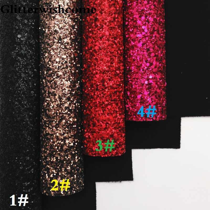 Glitterwishcome 30X134CM Mini Rotolo di Vinile Per Archi Stretch Supporto Opaco Chunky tessuto di Scintillio di Cuoio Del Vinile per Archi, GM254
