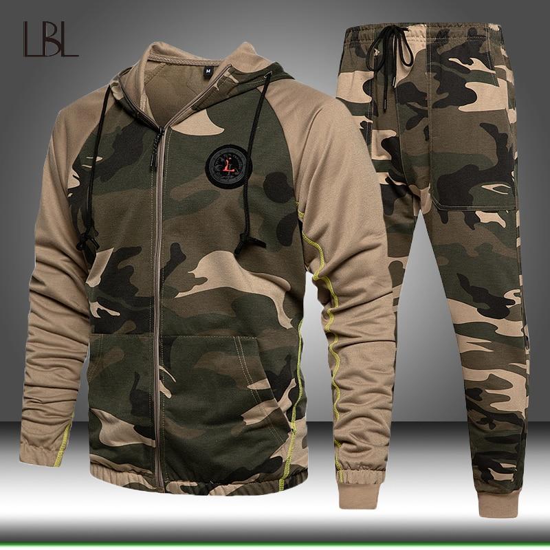 Костюм спортивный мужской Камуфляжный, свитшот с капюшоном и штаны, пуловер, худи, джоггеры, комплект зимней одежды, 2 предмета