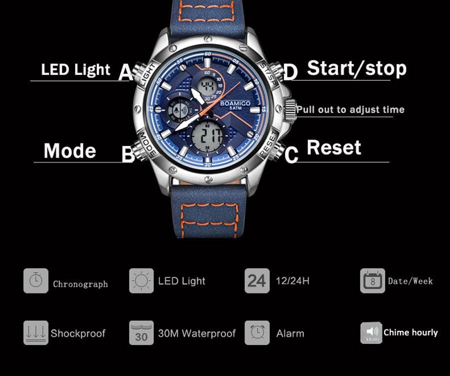 H25a3af7b810b41a4a9a4fcf969c0f3eal BOAMIGO Fashion Mens Watches men Military Digital analog Quartz Chronograph sport Watch  Waterproof wristwatch relogio masculino
