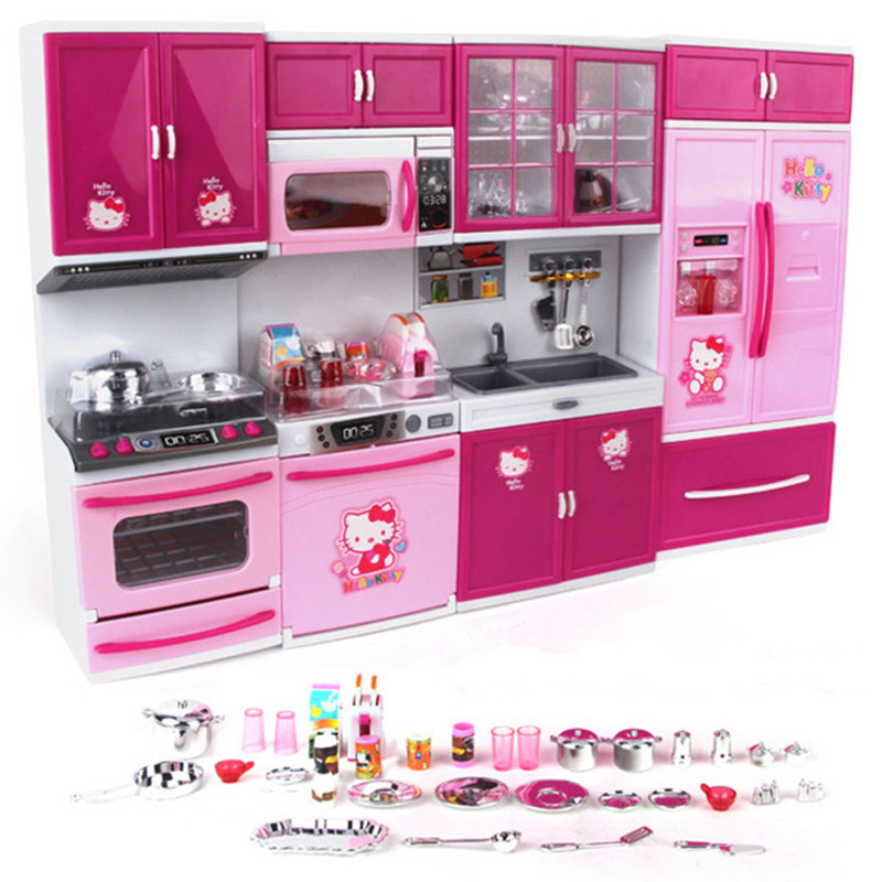 Hello Kitty Kitchen Toy Simulation Mini Kitchen Girl Cooking House Set Pretend Play Toy Tableware Set Refrigerator House Luxury