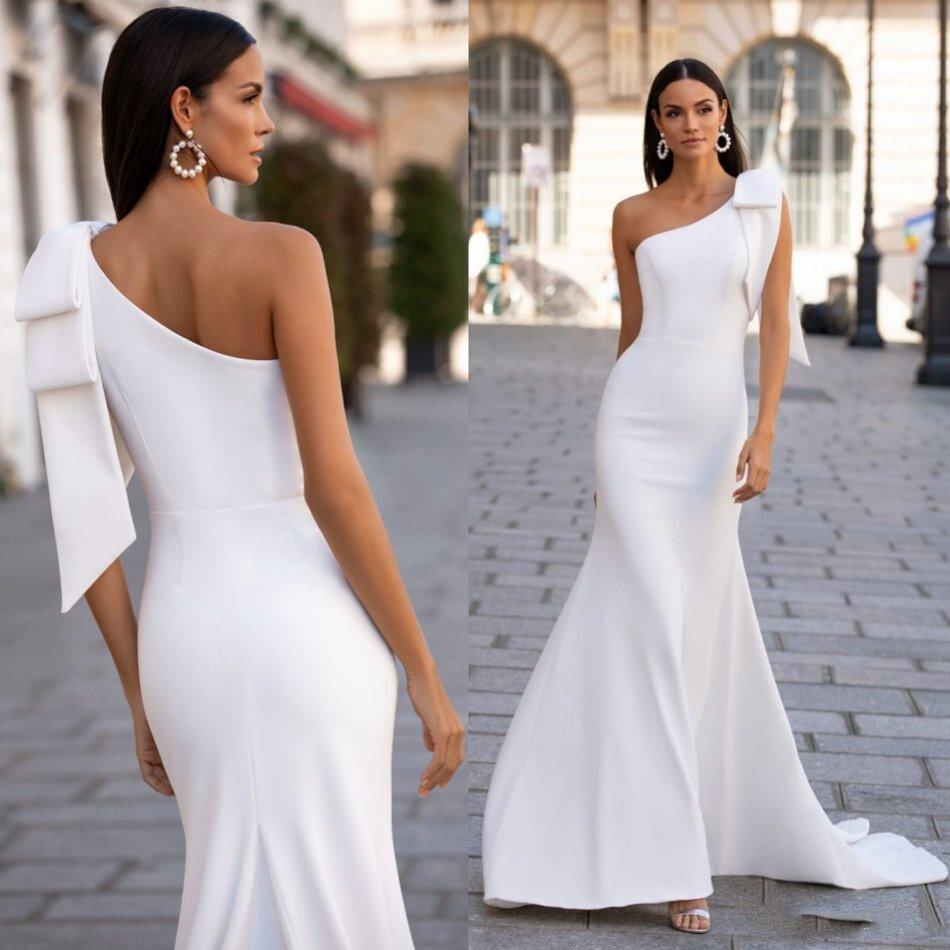 Fashion Mermaid Satin Wedding Dresses Bridal Gowns 2020 Simple Sleeveless Illusion Wedding Dress Robe De Mariée Sirène