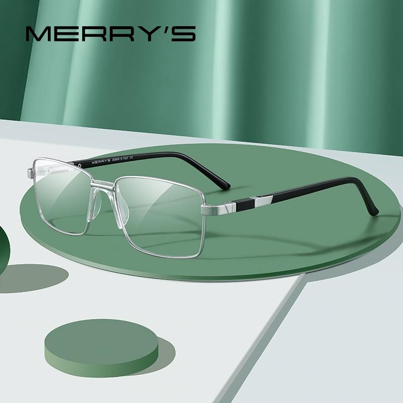 MERRY'S Men Titanium Alloy Glasses Frame Classic 2020 Business Style Ultralight Male Full Optical Eyeglasses Frames S2189