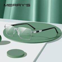 Merrys design masculino liga de titânio óculos quadro moda estilo negócios ultraleve olho miopia prescrição óculos s2189