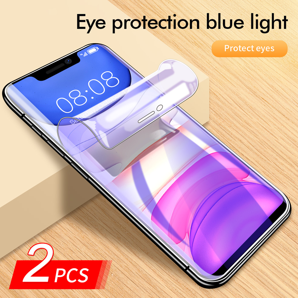 2PCS 100D Anti-blue light Hydrogel Film For iPhone 11 Pro Max Xr X Xs Max Hydrogel Screen Protector For iPhone 7 8 6 6s Plus