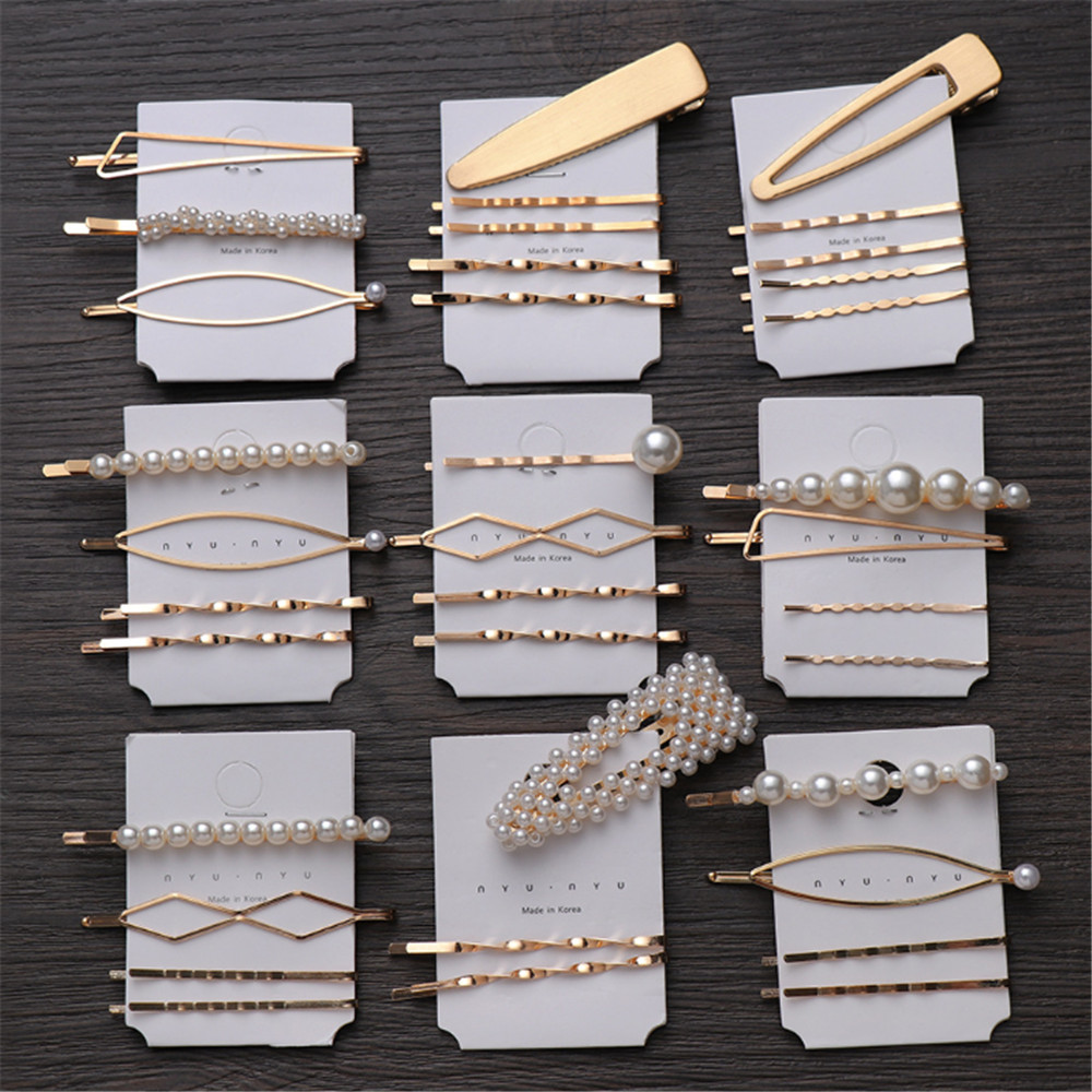 3Pcs/set Pearl Metal Gold Color Hair Clip Bobby Pin Barrette Hairband Hairpin Headdress for women girls Hair Accessories