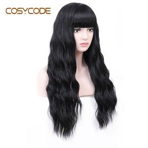 Image 2 - COSYCODE peluca negra con flequillo para mujer, larga, ondulada, sintética, no encaje, disfraz con Peluca de 60 cm