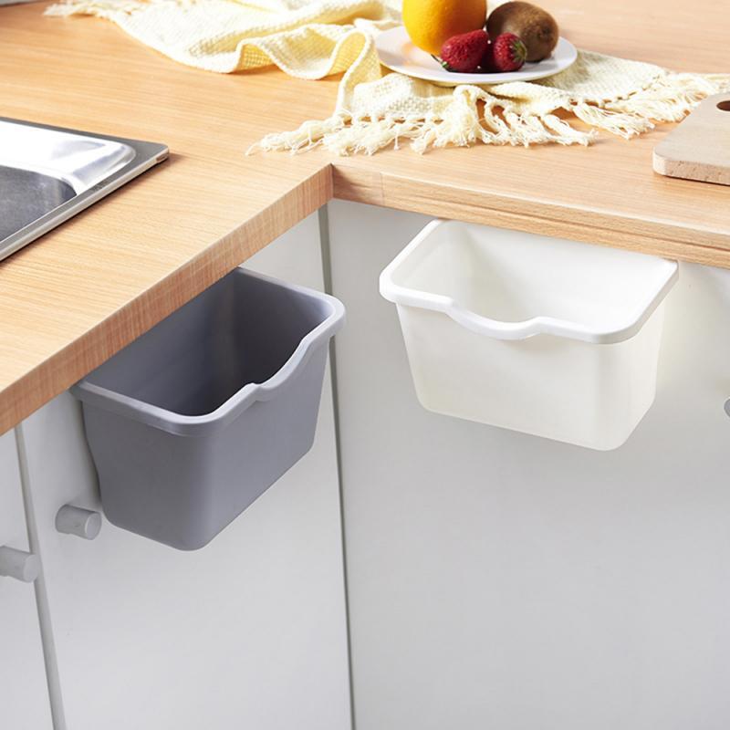 Cubo de basura de plástico para cocina, cubo de basura colgante para almacenamiento, contenedor de basura