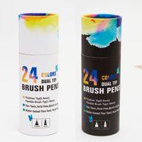 24 색 배럴당 펜  회화 아트 마커 펜  수채화 브러쉬 브러시  서예 스케치 학교 용품