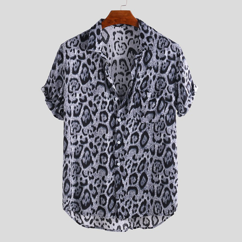 Men Casual Blouse Leopard Print Short Sleeve Shirts New Male Holiday Beachwear Shirt Man Loose Turn Down Collar Chemise Tops