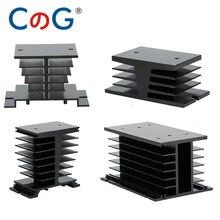 CG – radiateur monophasé noir en aluminium, relais à semi-conducteurs, 10A, 25A, 40A, 60A, 80A, 100A, 120A, 200A, 25DA, 40DA