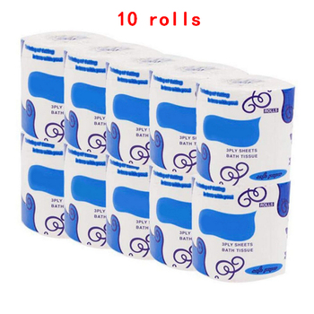 Pojedynczy pakiet biały papier toaletowy papier toaletowy papier toaletowy 3Ply papier ręczniczek papier toaletowy papier toaletowy chusteczka toaletowa tanie i dobre opinie 3 ply 10 rolls Mieszać ścier drzewny