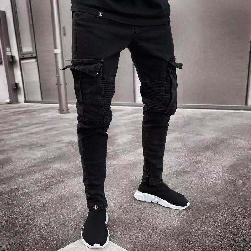 Long Pencil Pants Ripped Jeans Slim Spring Hole 2020 Men's Fashion Thin Skinny Jeans For Men Hiphop Trousers Clothes Clothing