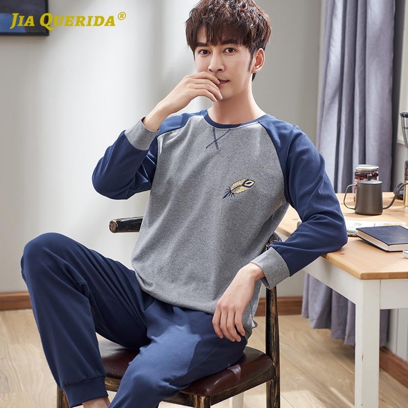Cotton Men Sleepwear 2020 New Trendy Home Clothing Big Size Xxxl 4xl Pajama Men 100% Cotton Two Piece Set Leaf Embroidery Pyjama