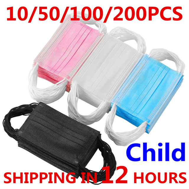 10-200pcs Disposable Child Masks Face Mask 3 Layer Children's Mask Filter Dust Mouth Mask Kids Child Earloops Protective Mask 1