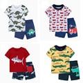 Футболка с коротким рукавом с принтом + шорты, летний комплект одежды для маленьких мальчиков, наряд для младенцев, костюм для новорожденных...
