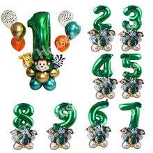 Chaud! Ensemble de ballons de fête Safari, 35 pièces, vert, numérique, pour enfants, anniversaire, Jungle, décoration de fête